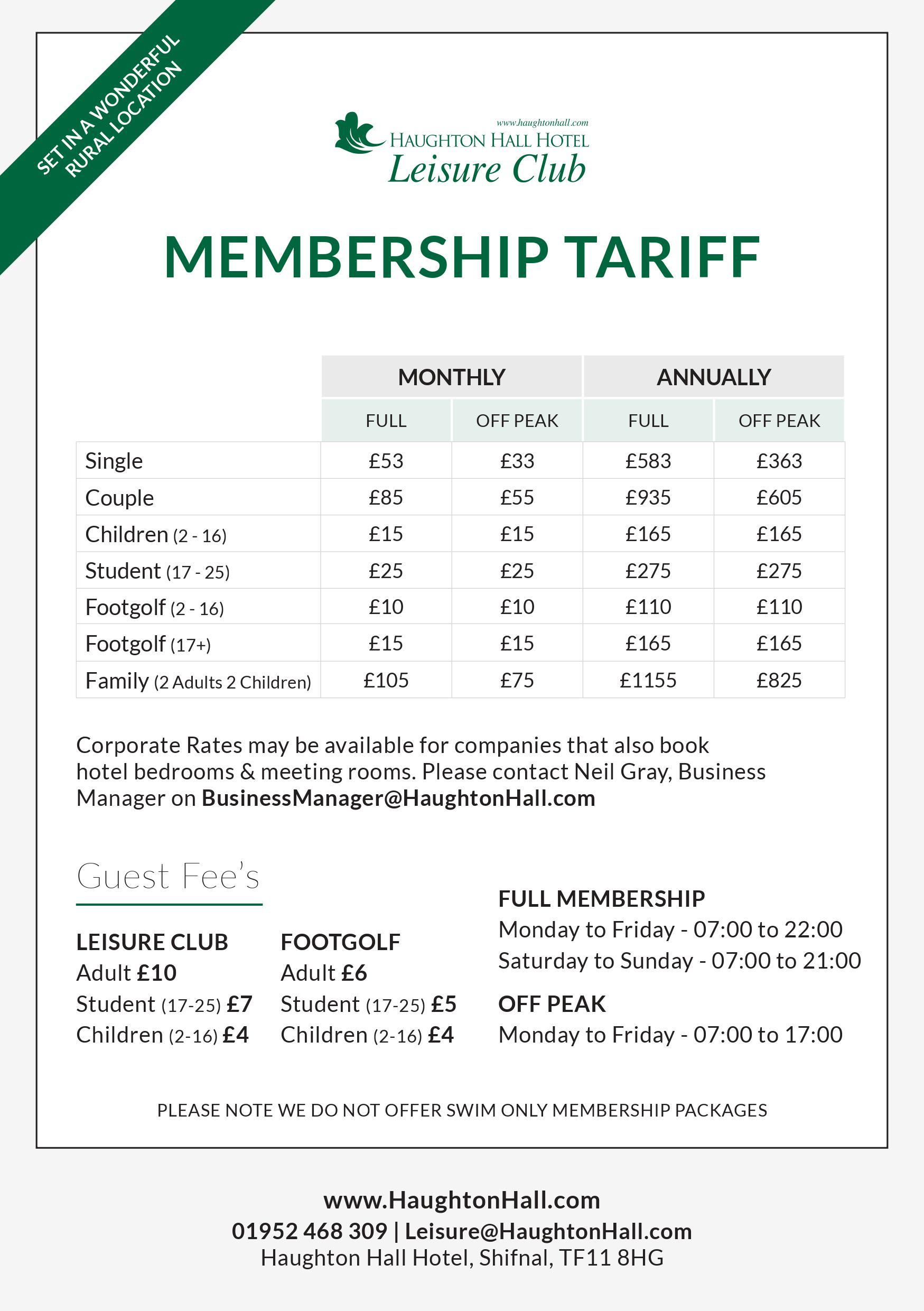 Leisure Membership Tariff